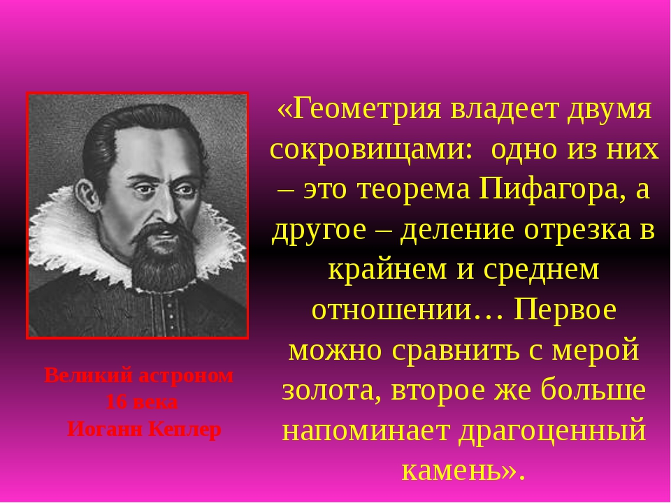 «Геометрия владеет двумя сокровищами: одно из них – это теорема Пифагора, а...
