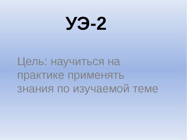 УЭ-2 Цель: научиться на практике применять знания по изучаемой теме
