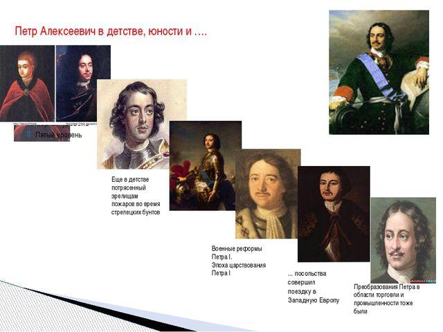 Петр Алексеевич в детстве, юности и …. ... посольства совершил поездку в Запа...