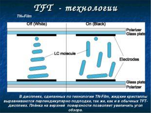 TFT - технологии В дисплеях, сделанных по технологии TN-Film, жидкие кристал