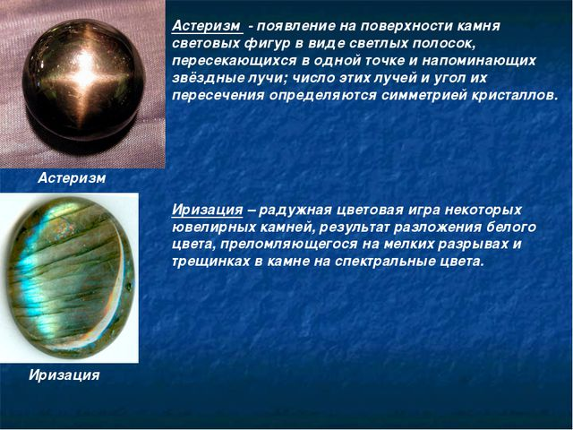 Астеризм Астеризм - появление на поверхности камня световых фигур в виде свет...