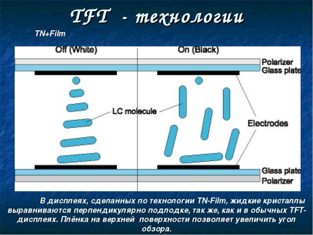 TFT - технологии В дисплеях, сделанных по технологии TN-Film, жидкие кристал...