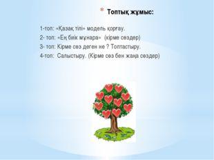 Топтық жұмыс: 1-топ: «Қазақ тілі» модель қорғау. 2- топ: «Ең биік мұнара» (кі