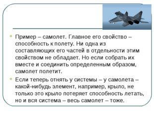 Пример – самолет. Главное его свойство – способность к полету. Ни одна из сос