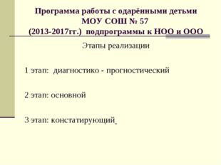 Программа работы с одарёнными детьми МОУ СОШ № 57 (2013-2017гг.) подпрограммы