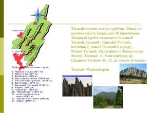 Таганай состоит из трех хребтов. Общая их протяженность превышает 20 километ