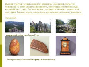 Высокие участки Таганая сложены из кварцитов. Среди них встречается уникальна