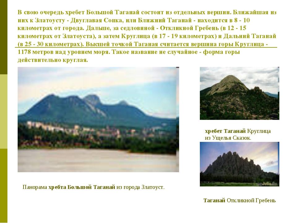 В свою очередь хребет Большой Таганай состоит из отдельных вершин. Ближайшая...