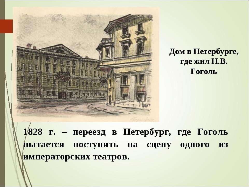 1828 г. – переезд в Петербург, где Гоголь пытается поступить на сцену одного...