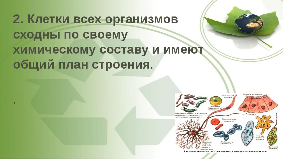2. Клетки всех организмов сходны по своему химическому составу и имеют общий...