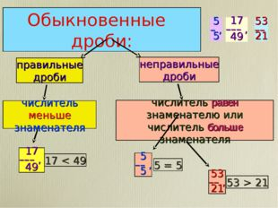 Обыкновенные дроби: правильные дроби числитель меньше знаменателя 17 < 49 17