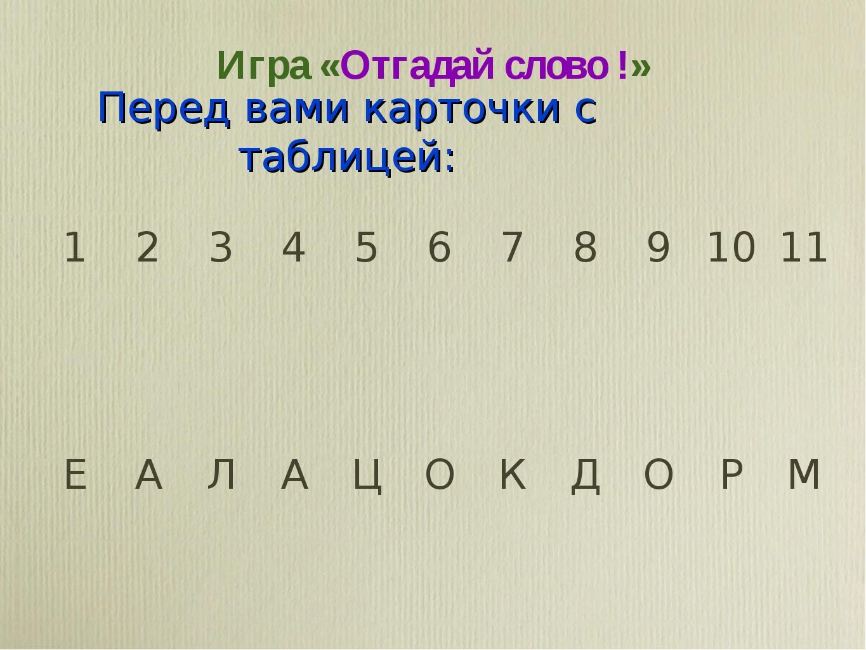 Игра «Отгадай слово !» Перед вами карточки с таблицей: 123456789101...