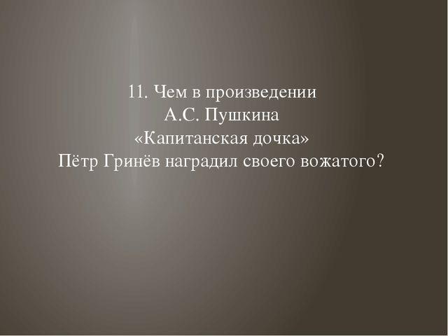 11. Чем в произведении А.С. Пушкина «Капитанская дочка» Пётр Гринёв наградил...