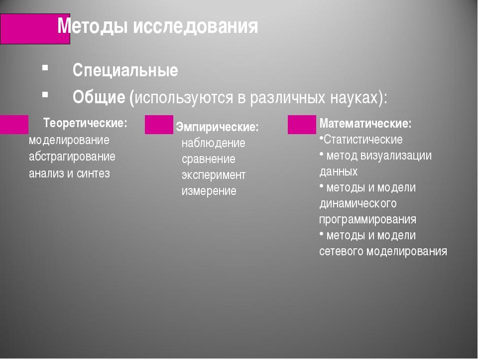 Специальные Общие (используются в различных науках): Методы исследования Мате...