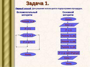 Задача 1. Первый способ. Для решения используется подпрограмма-процедура. Всп