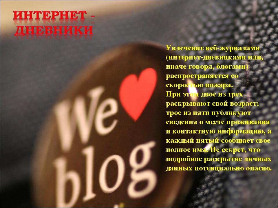 Увлечение веб-журналами (интернет-дневниками или, иначе говоря, блогами) расп...