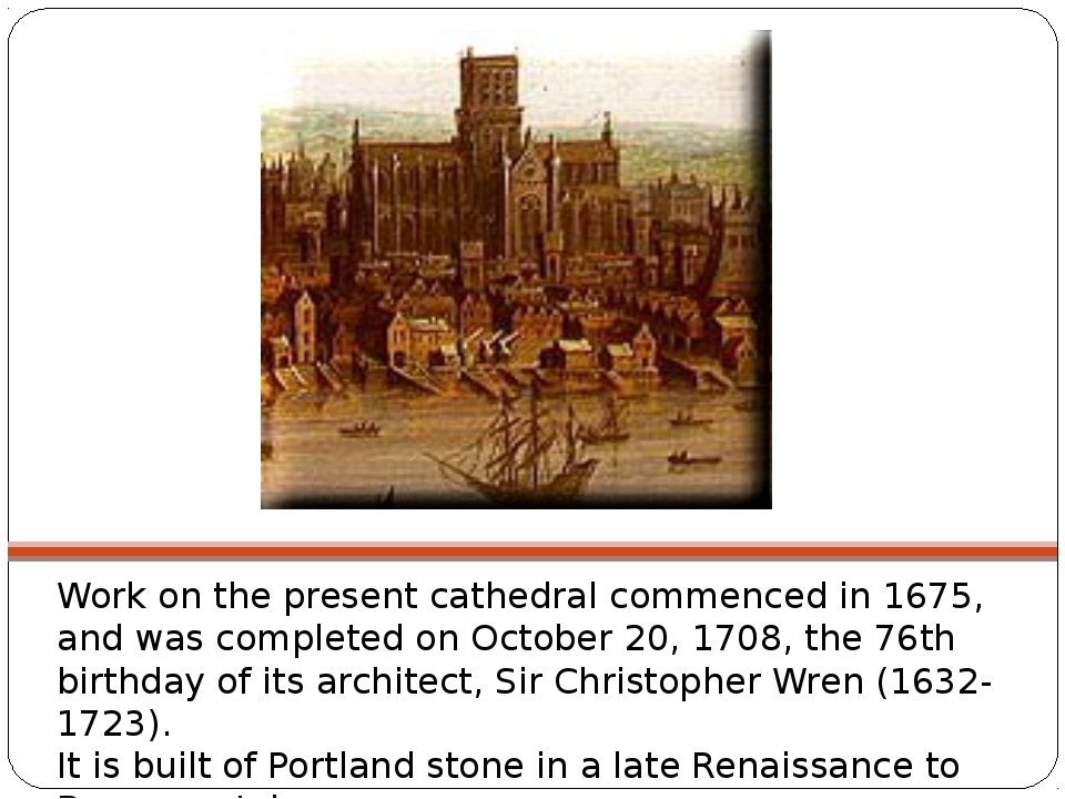 Work on the present cathedral commenced in 1675, and was completed on October...
