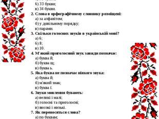 Тема №1 Звуки і букви. Склад 1. В українському алфавіті: а) 32 букви; 6) 33