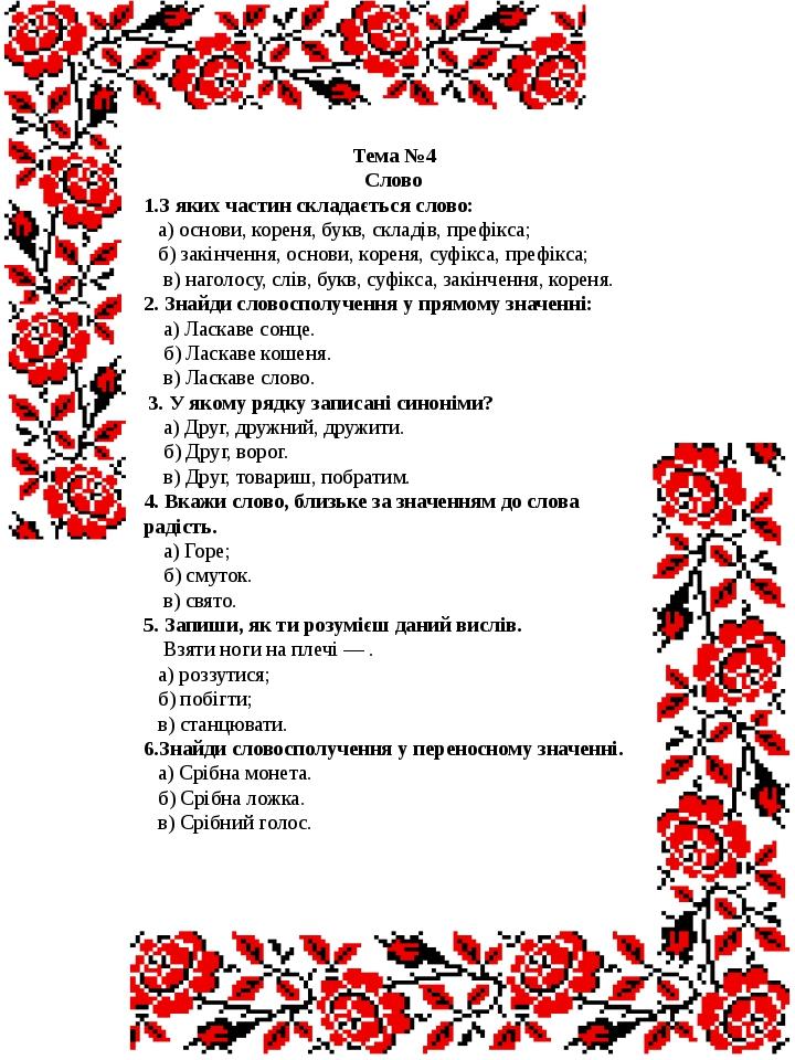 Тема №4 Слово 1.З яких частин складається слово: а) основи, кореня, букв, ск...
