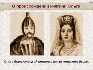 Ольга была супругой великого князя киевского Игоря. О происхождении княгини О
