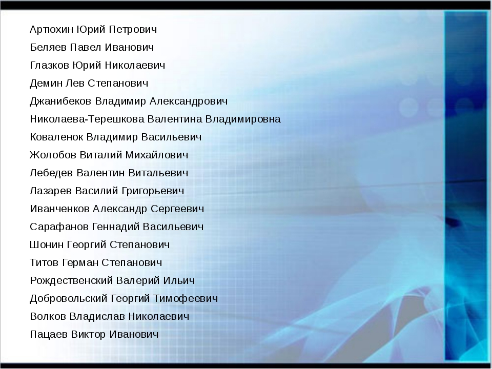 Артюхин Юрий Петрович Беляев Павел Иванович Глазков Юрий Николаевич Демин Лев...