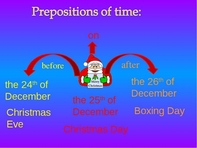 after before on Christmas Day the 24th of December the 26th of December the 2...