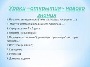 1. Начало организации урока (* минутка хорошего настроения,…..) 2.* Минутка ч
