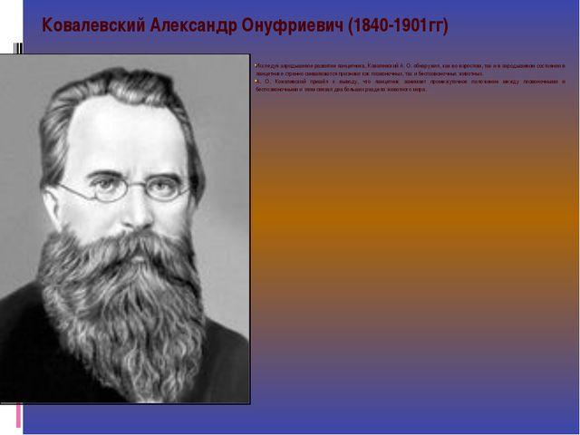Исследуя зародышевое развитие ланцетника, Ковалевский А. О. обнаружил, как во...