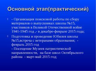 - Организация поисковой работы по сбору материалов о выпускниках школы №15, у