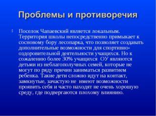 Поселок Чапаевский является локальным. Территория школы непосредственно примы