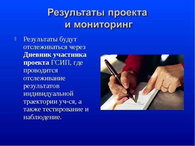 Результаты будут отслеживаться через Дневник участника проекта ГСИП, где пров...