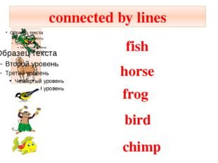connected by lines fish bird frog horse chimp