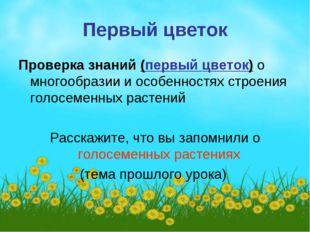 Первый цветок Проверка знаний (первый цветок) о многообразии и особенностях с