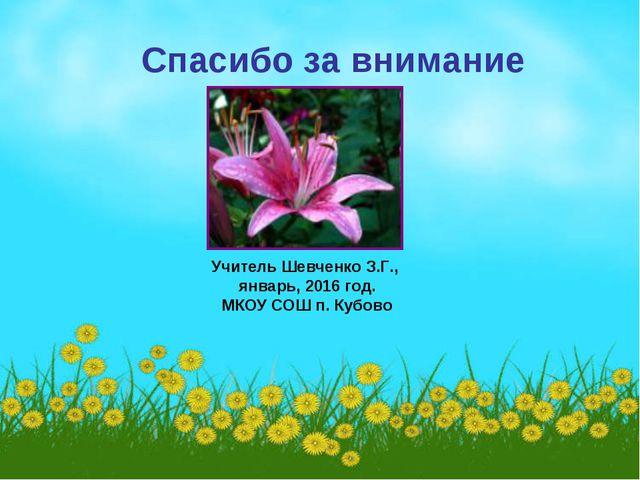 Спасибо за внимание Учитель Шевченко З.Г., январь, 2016 год. МКОУ СОШ п. Куб...