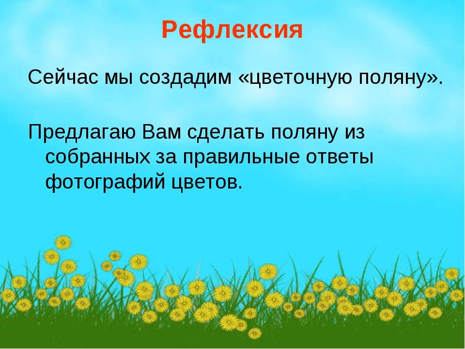 Рефлексия Сейчас мы создадим «цветочную поляну». Предлагаю Вам сделать поляну...