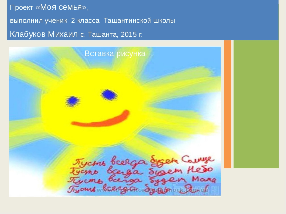 Проект «Моя семья», выполнил ученик 2 класса Ташантинской школы Клабуков Миха...