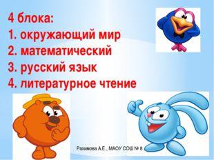 4 блока: 1. окружающий мир 2. математический 3. русский язык 4. литературное