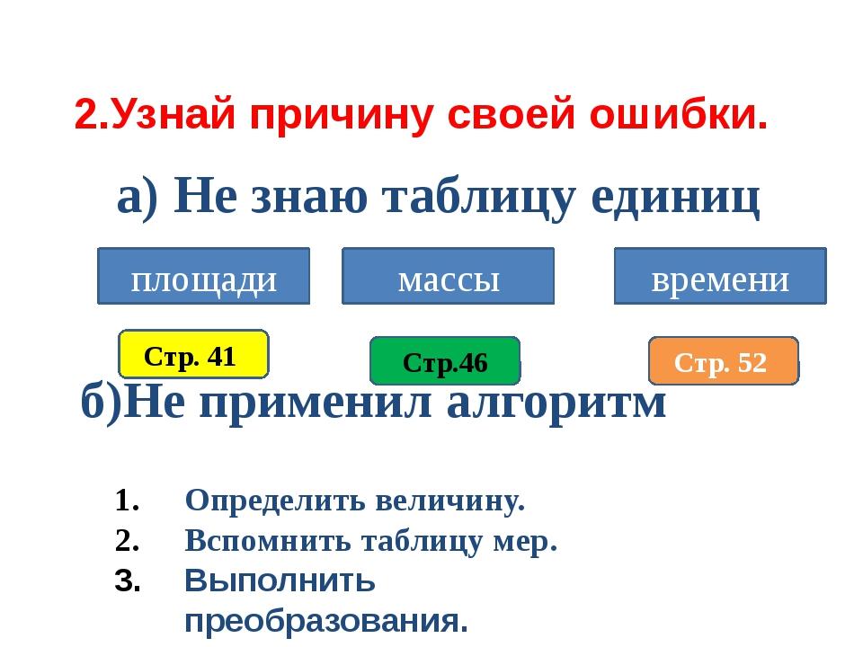 2.Узнай причину своей ошибки. а) Не знаю таблицу единиц б)Не применил алгорит...