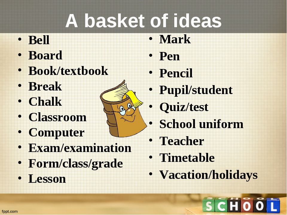 A basket of ideas Bell  Board  Book/textbook  Break  Chalk Classroom  Compute...