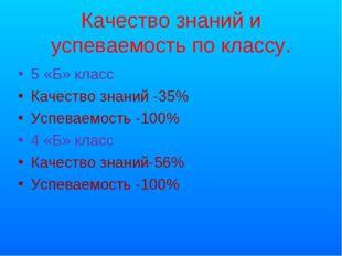 Качество знаний и успеваемость по классу. 5 «Б» класс Качество знаний -35% Ус