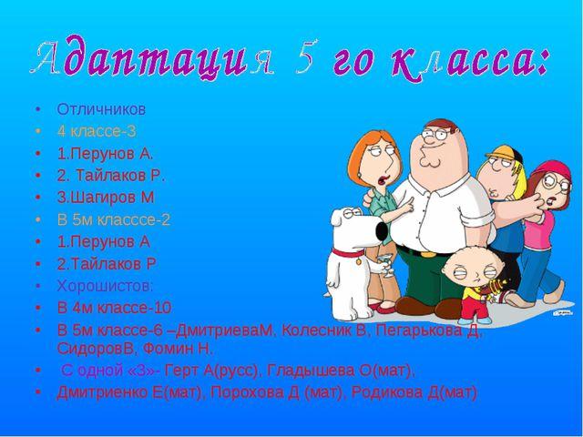 Отличников 4 классе-3 1.Перунов А. 2. Тайлаков Р. 3.Шагиров М В 5м класссе-2...