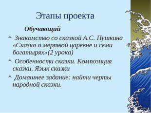Этапы проекта Обучающий Знакомство со сказкой А.С. Пушкина «Сказка о мертвой