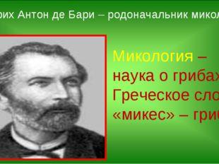 Микология – наука о грибах. Греческое слово «микес» – гриб. Генрих Антон де Б