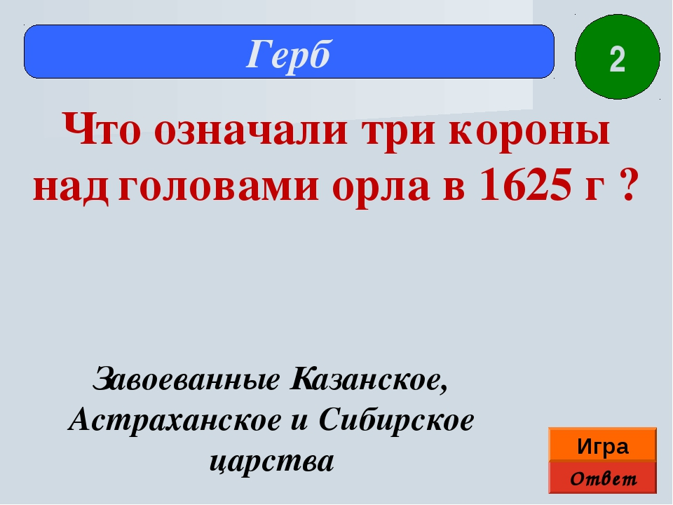 Ответ Игра Герб Завоеванные Казанское, Астраханское и Сибирское царства Что о...