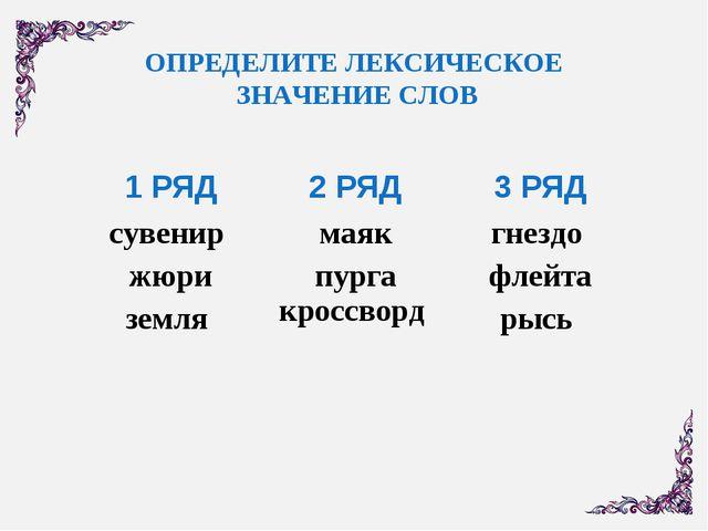 ОПРЕДЕЛИТЕ ЛЕКСИЧЕСКОЕ ЗНАЧЕНИЕ СЛОВ 1 РЯД2 РЯД3 РЯД сувенир жюри земля ма...