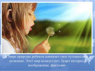 В мире природы ребенок начинает свое путешествие и познание. Этот мир волнует