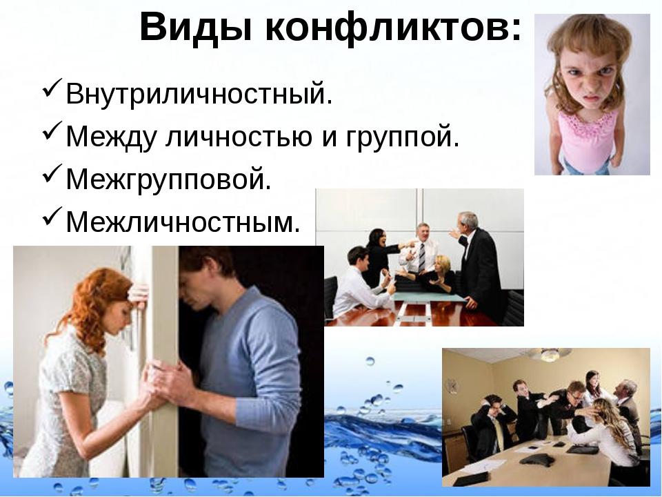 Виды конфликтов: Внутриличностный. Между личностью и группой. Межгрупповой. М...