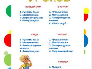 ПОНЕДЕЛЬНИК 1. Русский язык 2. Математика 3.Окружающий мир 4. Физкультура ВТО