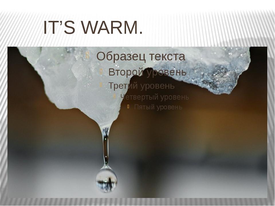 IT'S WARM.
