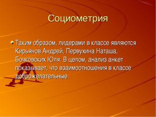 Социометрия Таким образом, лидерами в классе являются Кирьянов Андрей, Первух